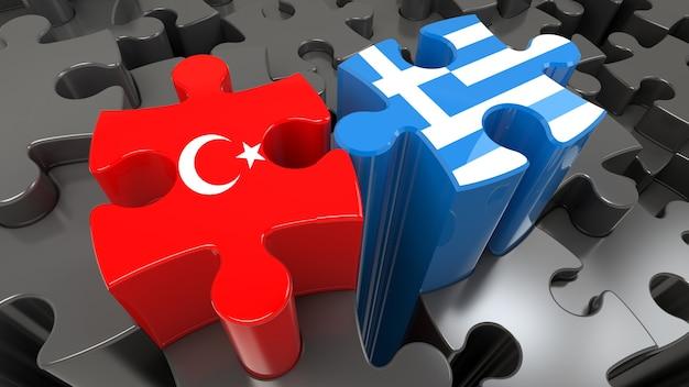 Vlaggen van turkije en griekenland op puzzelstukjes. politiek relatieconcept. 3d-rendering