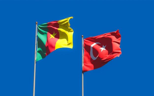 Vlaggen van turkije en kameroen. 3d-illustraties