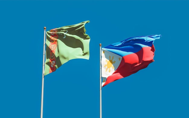 Vlaggen van turkmenistan en de filipijnen. 3d-illustraties