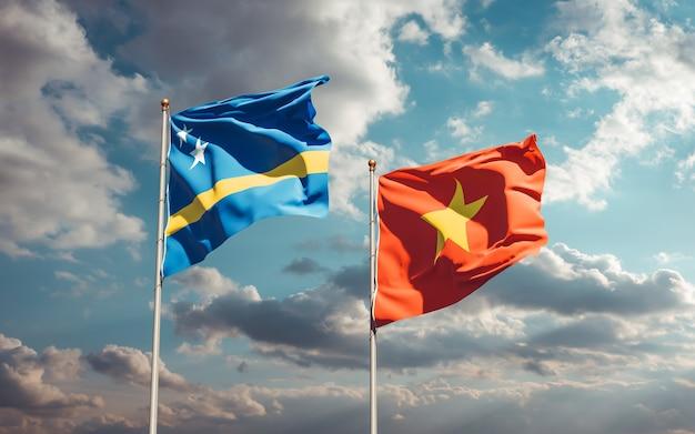 Vlaggen van vietnam en curaçao. 3d-illustraties