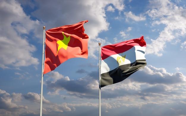 Vlaggen van vietnam en egypte. 3d-illustraties