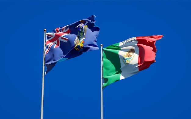 Vlaggen van zuid-georgië en de zuidelijke sandwicheilanden en mexico. 3d-illustraties