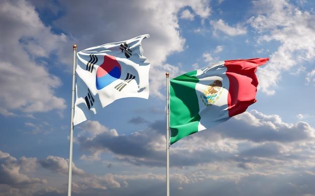 Vlaggen van zuid-korea en mexico. 3d-illustraties