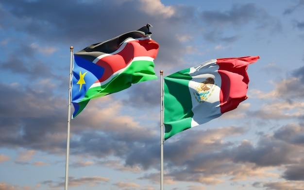 Vlaggen van zuid-soedan en mexico. 3d-illustraties