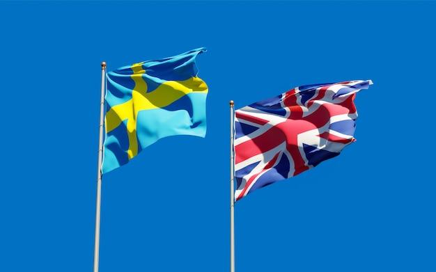 Vlaggen van zweden en zweden op blauwe hemel. 3d-illustraties