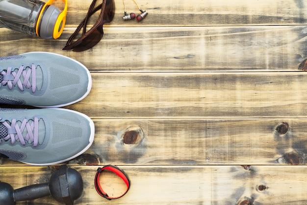 Vlak leg fitness, gezonde en actieve levensstijl concept