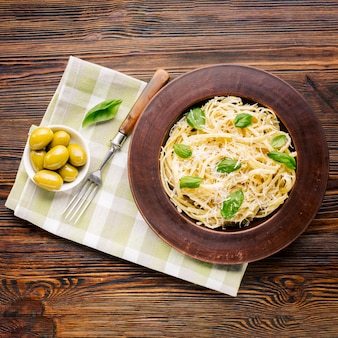 Vlak leg italiaanse voedselsamenstelling