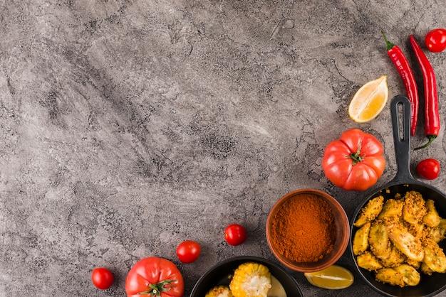 Vlak leg mexicaanse voedselsamenstelling met copyspace