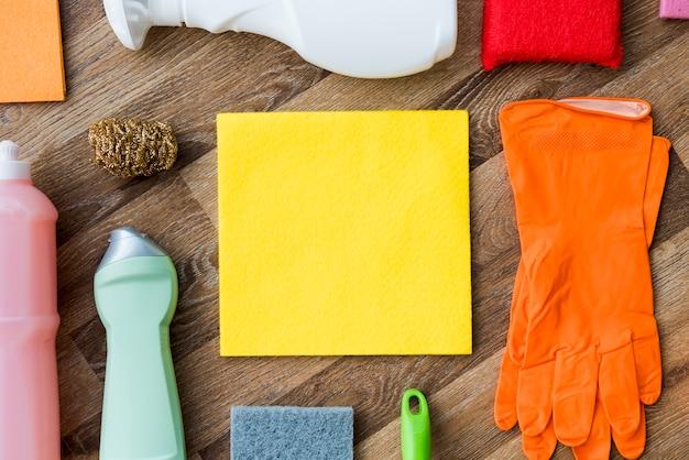 Vlak leg samenstelling van schoonmakende producten