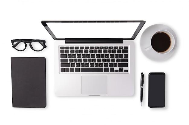 Vlak leg van de toebehoren van het mensenapparaat in zwarte toonkleur op bureaulijst