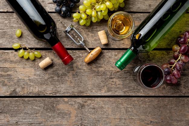 Vlakke biologische en natuurlijke wijn