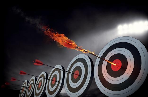 Vlammende pijl die het midden van het doel raakt