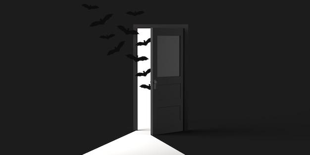 Vleermuizen komen uit een halfopen deur op halloween. ruimte kopiëren. 3d illustratie.