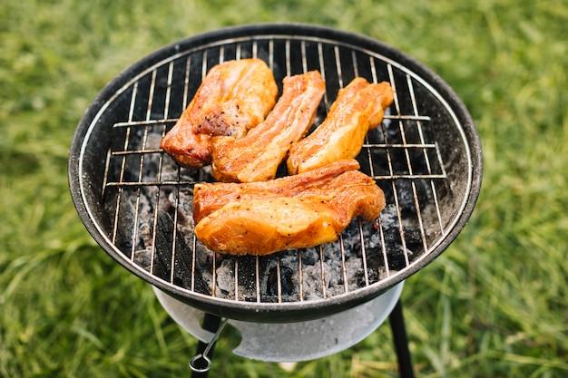 Vlees bij de grill in de natuur