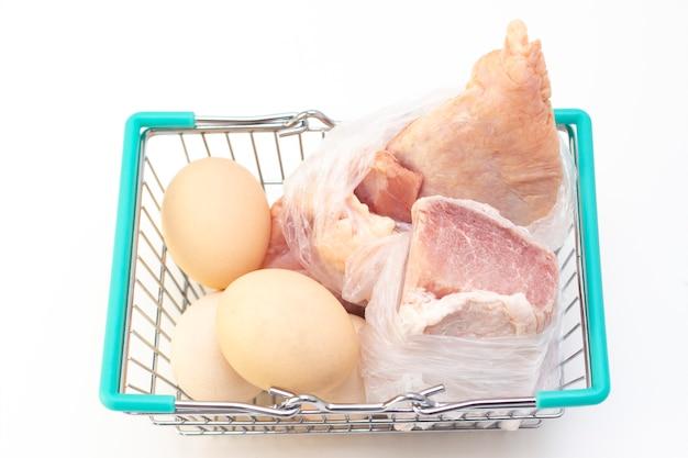 Vlees en eieren in een voedsel mand. online aankoopconcept