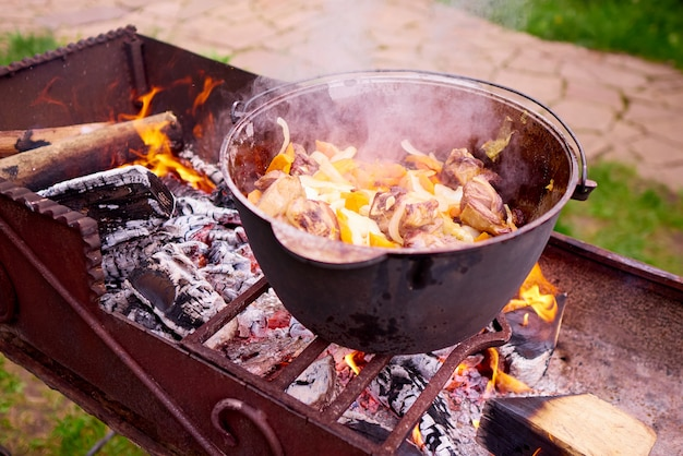 Vlees met groenten op het vuur koken.