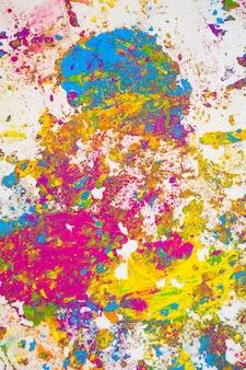 Vlekken van paarse, azuurblauwe, groene en gele heldere droge kleuren