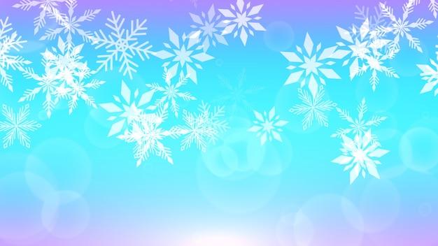 Vlieg witte sneeuwvlokken en abstracte deeltjes op blauwe vakantieachtergrond. luxe en elegante 3d illustratie stijl vakantie sjabloon voor happy new year en merry christmas glanzende achtergrond