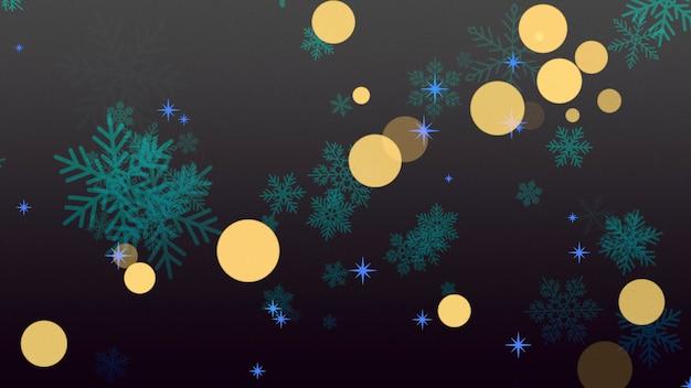 Vlieg witte sneeuwvlokken en abstracte deeltjes op paarse vakantie achtergrond. luxe en elegante 3d illustratie stijl vakantie sjabloon voor happy new year en merry christmas glanzende achtergrond