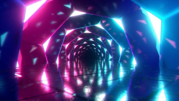 Vliegen door een lichtgevende neongang van wervelende zeshoeken
