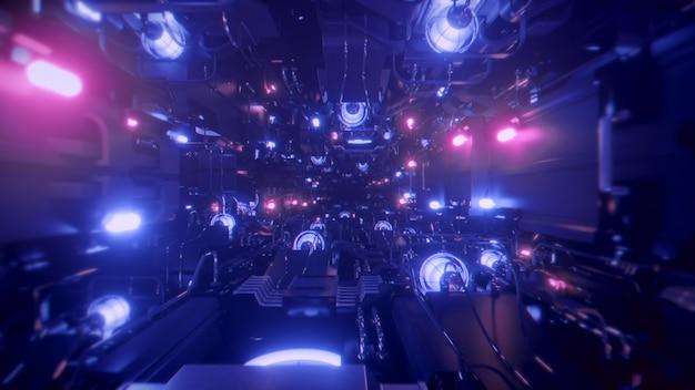 Vliegen in de tunnel van het ruimteschip