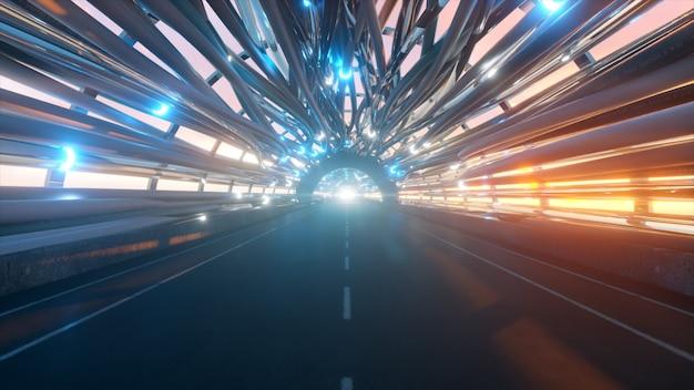 Vliegen in een futuristische glasvezeltunnel met een weg