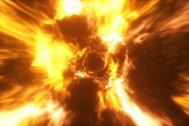 Vliegen in een kleurrijke abstracte energietunnel in de ruimte