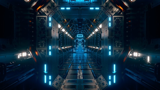 Vliegen in een ruimteschiptunnel, een sci-fi shuttle-corridor. futuristische abstracte technologie. technologie en toekomstconcept. knipperend licht. 3d illustratie