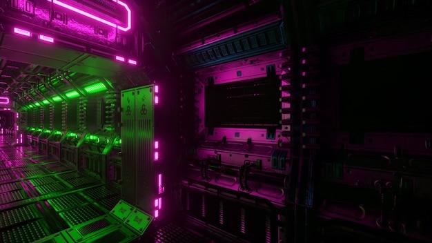 Vliegen in ruimteschiptunnel, sci-fi ruimteschipgang. futuristische technologie abstracte naadloze vj voor technische titels en achtergronden. internetverkeer graphics, snelheid. 3d illustratie
