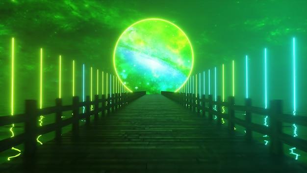 Vliegen langs de eindeloze houten brug