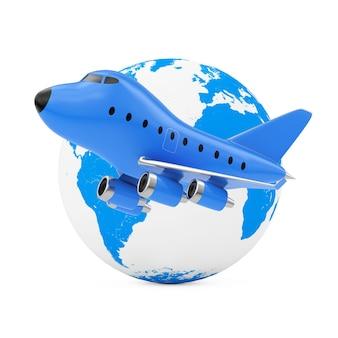 Vliegen rond het wereldconcept. blue cartoon toy jet vliegtuig in de buurt van earth globe op een witte achtergrond. 3d-rendering.