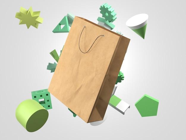 Vliegende 3d-papieren boodschappentas