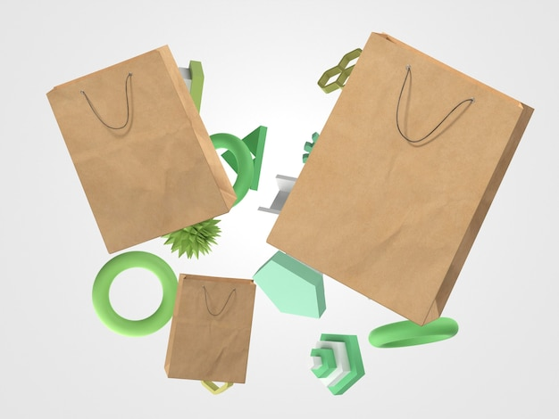 Vliegende 3d-papieren boodschappentassen en verschillende objecten