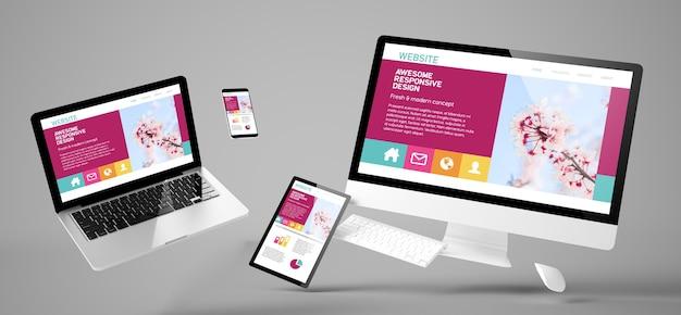 Vliegende apparaten met geweldige 3d-weergave van het responsieve ontwerp van de website