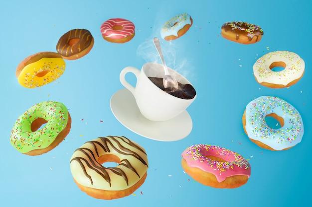 Vliegende en vallende zoete gekleurde donuts en een warme kop koffie op een blauwe achtergrond. ontbijt en café concept.