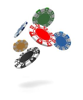 Vliegende gokfiches. geïsoleerde witte achtergrond. 3d-rendering