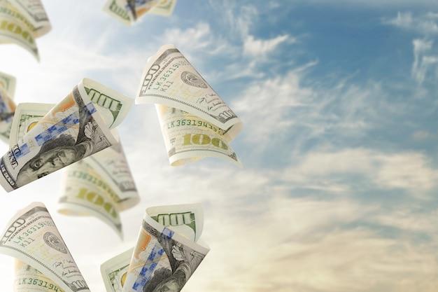 Vliegende honderd-dollarbiljetten