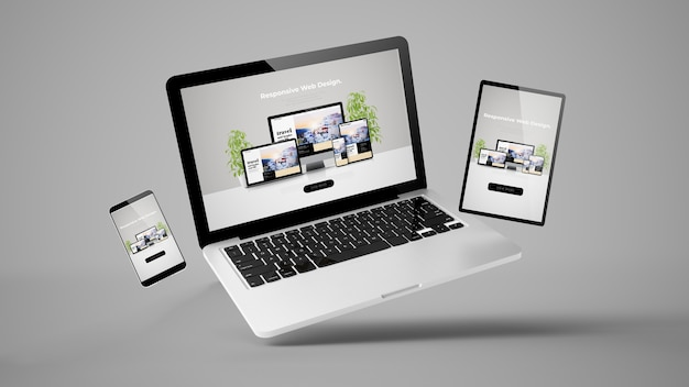 Vliegende laptop, mobiel en tablet 3d-rendering met responsive webdesign