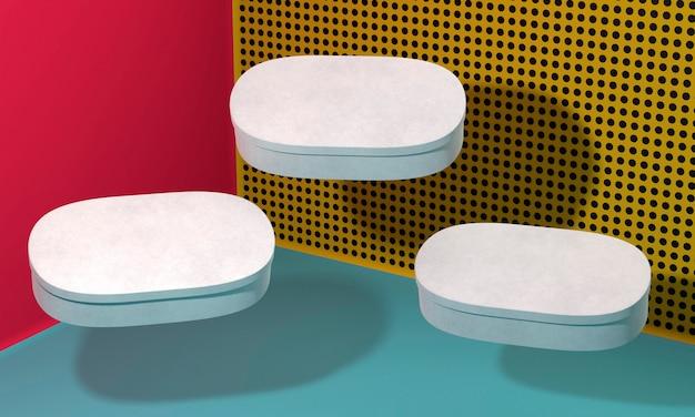 Vliegende ovale witte lege simplistische kartonnen dozen