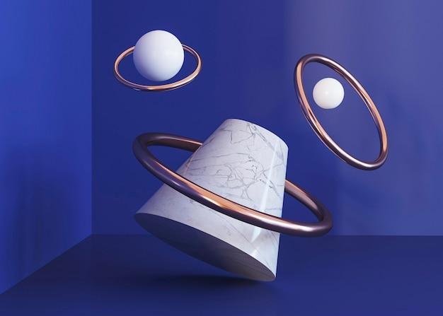 Vliegende ringen geometrische vormen achtergrond