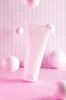 Vliegende roomfles met vliegende ballen in een roze neonlicht, mock up