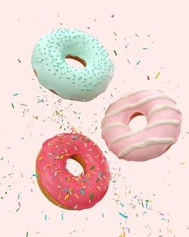Vliegende roze en blauwe donuts