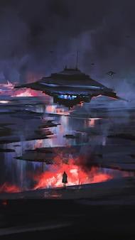 Vliegende schotel daalt verwoestend neer op aarde, sci-fi illustratie.