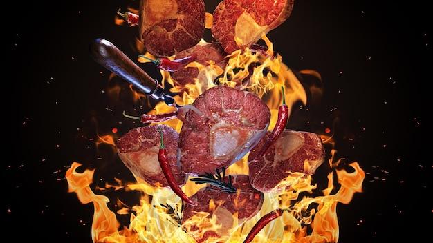 Vliegende stukken vlees over grillrooster 3d-rendering