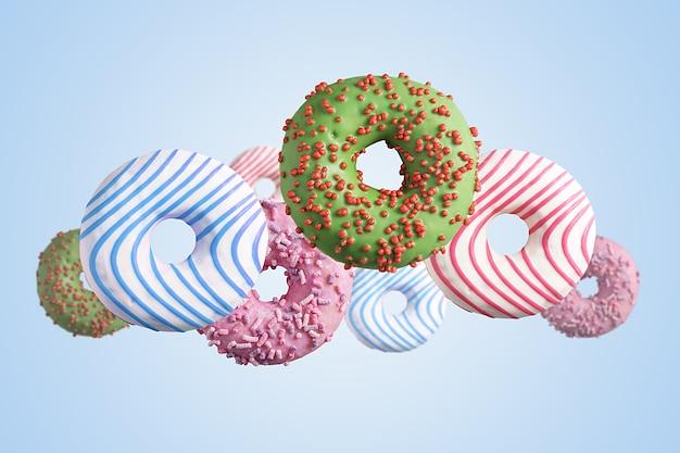 Vliegende veelkleurige donuts