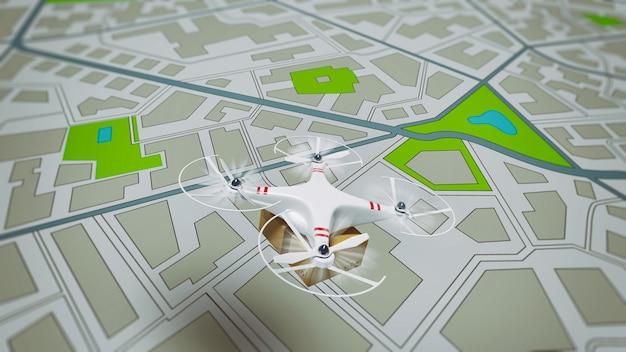 Vliegende verzending van een pakket per uav-drone met autonome gids
