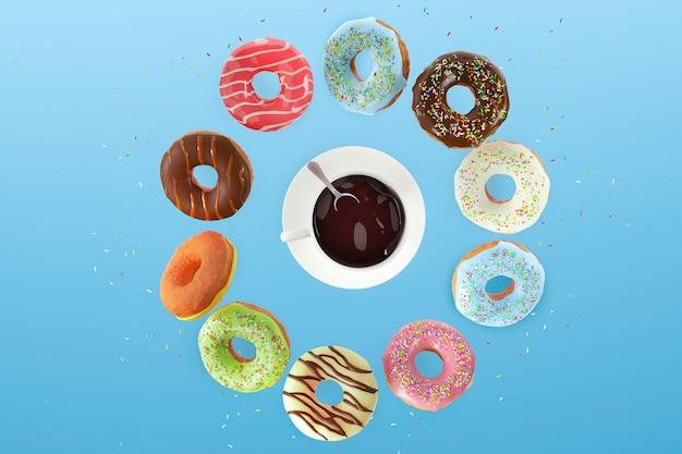 Vliegende zoete gekleurde donuts en een witte kop koffie op een blauwe achtergrond. ontbijtconcept.