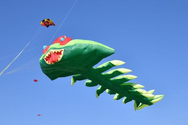 Vlieger festival. vliegers in de lucht op het strand van de atlantische oceaan