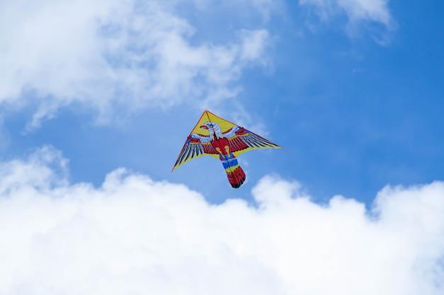 Vlieger met blauwe lucht en witte wolken. vogel in de lucht.