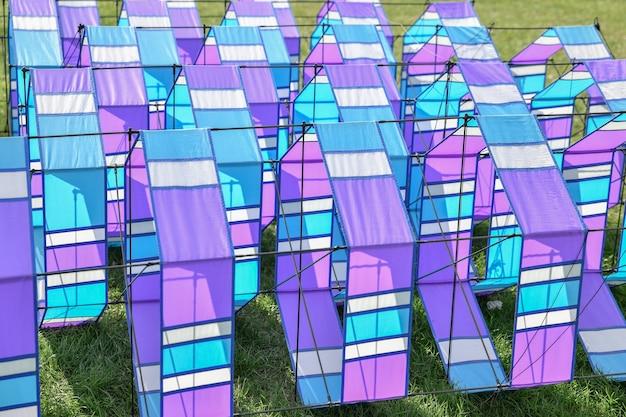 Vliegerfestival blauwe vliegers op het gras